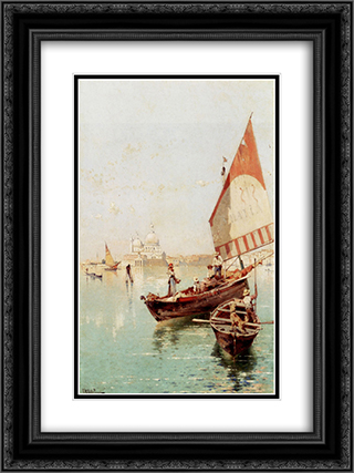 Sailboat In A Venetian Lagoon 18x24 Black or Gold Ornate Framed and Double Matted Art Print by Franz Richard Unterberger