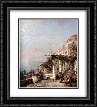 The Amalfi Coast 20x22 Black or Gold Ornate Framed and Double Matted Art Print by Franz Richard Unterberger