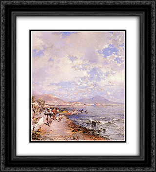 The Bay of Naples 20x22 Black or Gold Ornate Framed and Double Matted Art Print by Franz Richard Unterberger