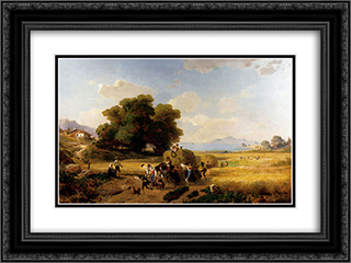 The Last Day Of The Harvest 24x18 Black or Gold Ornate Framed and Double Matted Art Print by Franz Richard Unterberger