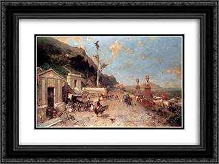 The Monreale Road, Palermo 24x18 Black or Gold Ornate Framed and Double Matted Art Print by Franz Richard Unterberger
