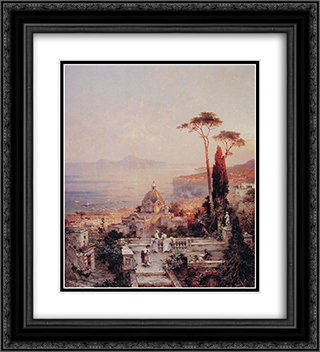 The view from the Balcony 20x22 Black or Gold Ornate Framed and Double Matted Art Print by Franz Richard Unterberger