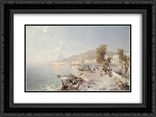 Vietri Sul Mare, Looking Towards Salerno 24x18 Black or Gold Ornate Framed and Double Matted Art Print by Franz Richard Unterberger