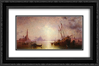 View of St George's, Venice 24x16 Black or Gold Ornate Framed and Double Matted Art Print by Franz Richard Unterberger