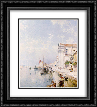 View of the Zatteri Venice 20x22 Black or Gold Ornate Framed and Double Matted Art Print by Franz Richard Unterberger