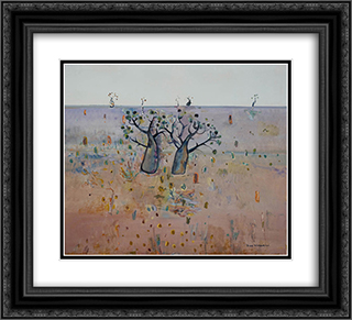 Boab trees, Kimberley's 22x20 Black or Gold Ornate Framed and Double Matted Art Print by Fred Williams