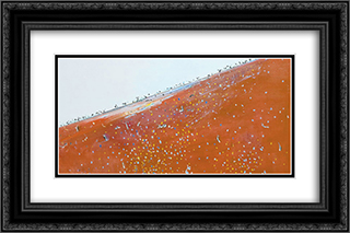 Iron ore landscape 24x16 Black or Gold Ornate Framed and Double Matted Art Print by Fred Williams