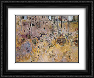 Landscape with Acacias 24x20 Black or Gold Ornate Framed and Double Matted Art Print by Fred Williams