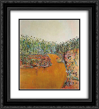 Landscape with Goose 20x22 Black or Gold Ornate Framed and Double Matted Art Print by Fred Williams