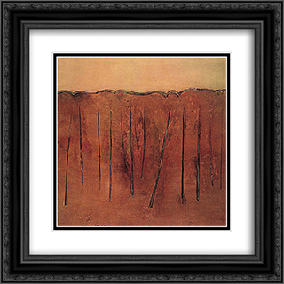 Saplings Mittagong II 20x20 Black or Gold Ornate Framed and Double Matted Art Print by Fred Williams
