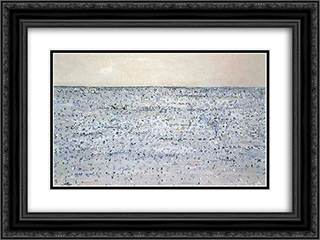 Seascape with Boat Mornington 24x18 Black or Gold Ornate Framed and Double Matted Art Print by Fred Williams