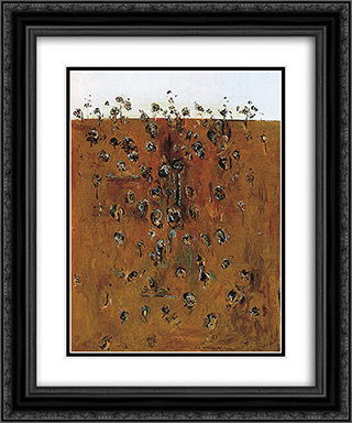 Upwey Landscape II 20x24 Black or Gold Ornate Framed and Double Matted Art Print by Fred Williams