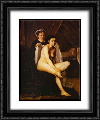 After the Bath 20x24 Black or Gold Ornate Framed and Double Matted Art Print by Frederic Bazille