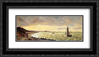 Beach at Sainte-Adresse 24x14 Black or Gold Ornate Framed and Double Matted Art Print by Frederic Bazille