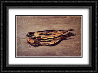 Dried Fish 24x18 Black or Gold Ornate Framed and Double Matted Art Print by Frederic Bazille