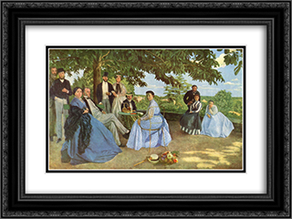 Family Reunion 24x18 Black or Gold Ornate Framed and Double Matted Art Print by Frederic Bazille