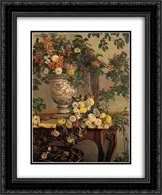 Flowers 20x24 Black or Gold Ornate Framed and Double Matted Art Print by Frederic Bazille