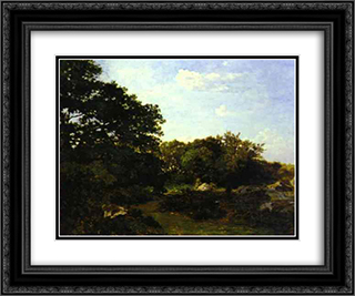 Forest of Fontainebleau 24x20 Black or Gold Ornate Framed and Double Matted Art Print by Frederic Bazille