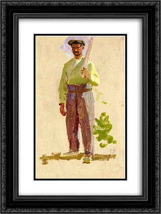 Grape Picker in a Cap 18x24 Black or Gold Ornate Framed and Double Matted Art Print by Frederic Bazille
