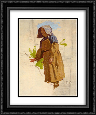 Grape Picker in a Cap I 20x24 Black or Gold Ornate Framed and Double Matted Art Print by Frederic Bazille