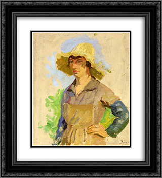Grape Picker in a Yellow Hat 20x22 Black or Gold Ornate Framed and Double Matted Art Print by Frederic Bazille