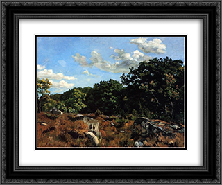Landscape at Chailly 24x20 Black or Gold Ornate Framed and Double Matted Art Print by Frederic Bazille