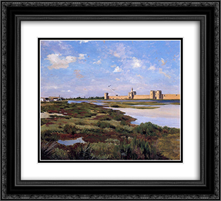 Landscape of Aigues-Mortes 22x20 Black or Gold Ornate Framed and Double Matted Art Print by Frederic Bazille