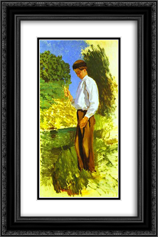 Louis Auriol Fishing 16x24 Black or Gold Ornate Framed and Double Matted Art Print by Frederic Bazille