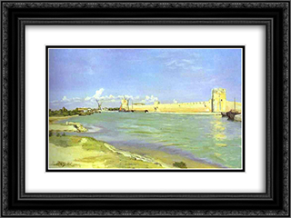 Mall of Aigues-Mortes 24x18 Black or Gold Ornate Framed and Double Matted Art Print by Frederic Bazille
