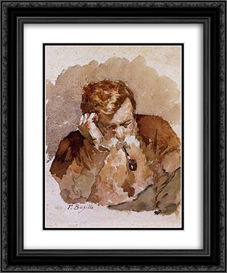 Man with a Pipe 20x24 Black or Gold Ornate Framed and Double Matted Art Print by Frederic Bazille