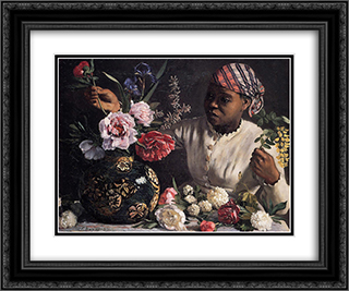 Negress with Peonies 24x20 Black or Gold Ornate Framed and Double Matted Art Print by Frederic Bazille