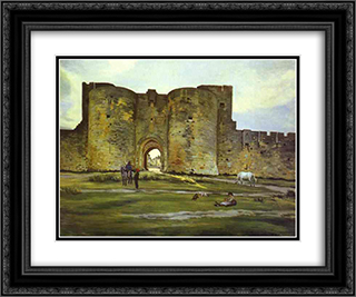 Port of the Queen at Aigues-Mortes 24x20 Black or Gold Ornate Framed and Double Matted Art Print by Frederic Bazille