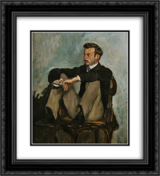 Portrait of Auguste Renoir 20x22 Black or Gold Ornate Framed and Double Matted Art Print by Frederic Bazille