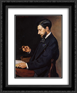 Portrait of Edmond Maitre 20x24 Black or Gold Ornate Framed and Double Matted Art Print by Frederic Bazille