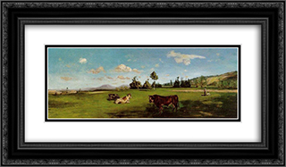 Saint-Saveur 24x14 Black or Gold Ornate Framed and Double Matted Art Print by Frederic Bazille