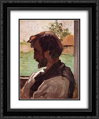 Self-Portrait at Saint-Saveur 20x24 Black or Gold Ornate Framed and Double Matted Art Print by Frederic Bazille