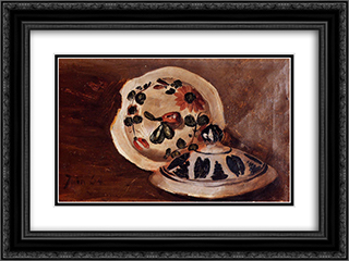 Soup Bowl Covers 24x18 Black or Gold Ornate Framed and Double Matted Art Print by Frederic Bazille