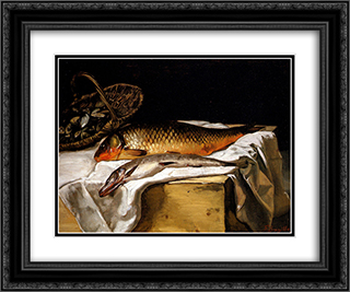 Still Life with Fish 24x20 Black or Gold Ornate Framed and Double Matted Art Print by Frederic Bazille