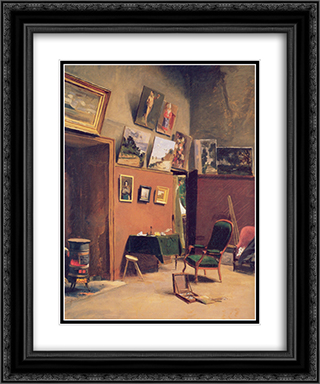 Studio in the rue de Furstenberg 20x24 Black or Gold Ornate Framed and Double Matted Art Print by Frederic Bazille