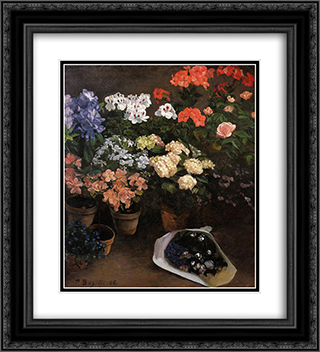 Study of Flowers 20x22 Black or Gold Ornate Framed and Double Matted Art Print by Frederic Bazille