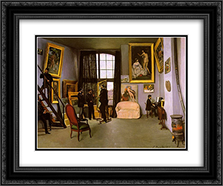 The Artist's Studio, Rue de la Condamine 24x20 Black or Gold Ornate Framed and Double Matted Art Print by Frederic Bazille