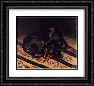 The Dog Rita Asleep 22x20 Black or Gold Ornate Framed and Double Matted Art Print by Frederic Bazille