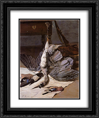 The Heron 20x24 Black or Gold Ornate Framed and Double Matted Art Print by Frederic Bazille