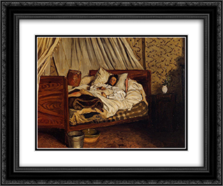 The Improvised Field-Hospital 24x20 Black or Gold Ornate Framed and Double Matted Art Print by Frederic Bazille