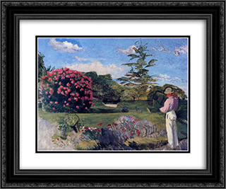 The Little Gardener 24x20 Black or Gold Ornate Framed and Double Matted Art Print by Frederic Bazille