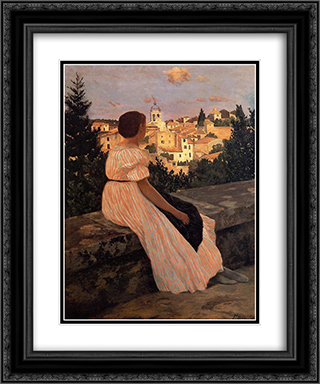 The Pink Dress 20x24 Black or Gold Ornate Framed and Double Matted Art Print by Frederic Bazille