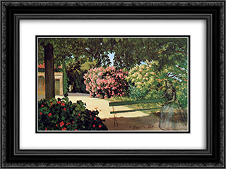 The Terrace at Meric (Oleander) 24x18 Black or Gold Ornate Framed and Double Matted Art Print by Frederic Bazille