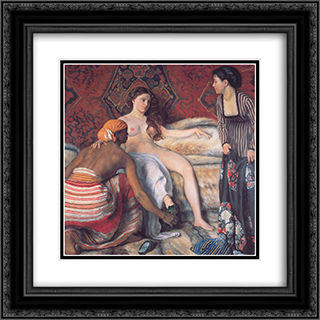 Toilet 20x20 Black or Gold Ornate Framed and Double Matted Art Print by Frederic Bazille