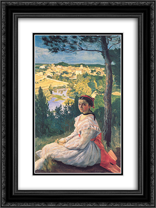 View of the Village of Castelnau-le-Lez 18x24 Black or Gold Ornate Framed and Double Matted Art Print by Frederic Bazille