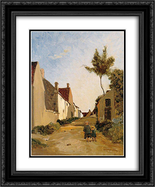 Village Street 20x24 Black or Gold Ornate Framed and Double Matted Art Print by Frederic Bazille
